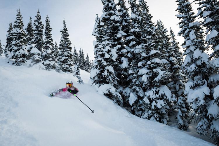 Deep powder skiing in Whistler