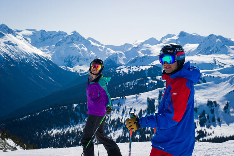 Skiing on a spring day at Whistler Blackcomb.