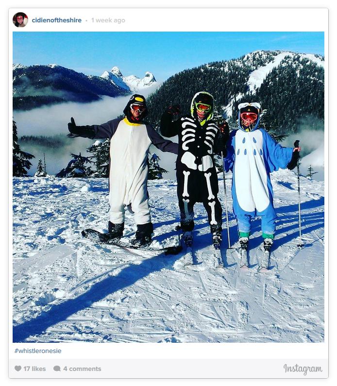 Skiiers in Penguin, Skeleton and Owl Onesies
