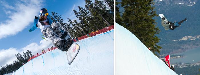 Snowboarders in Half Pipe