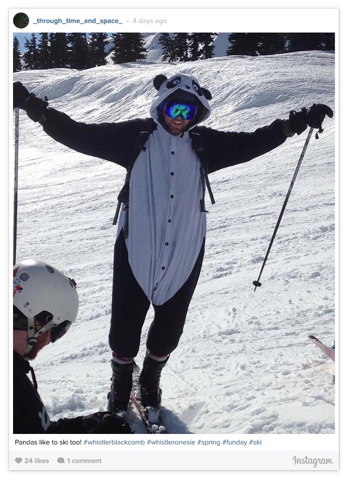 Skiing in a Panda Onesie