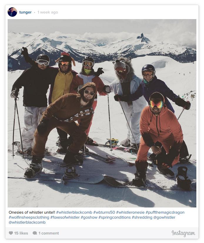 Group Onesie Shot on Whistler Peak