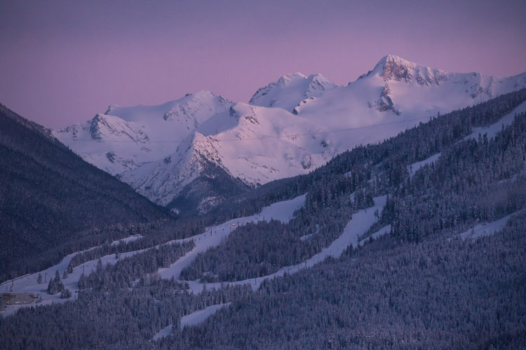 Whistler Mountain and Fissile at dusk