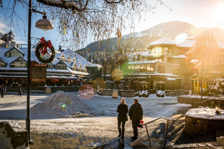 Whistler village in winter