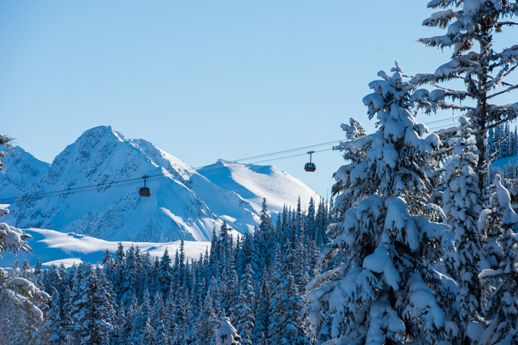 Peak to Peak Gondola with beautiful mountain scenery