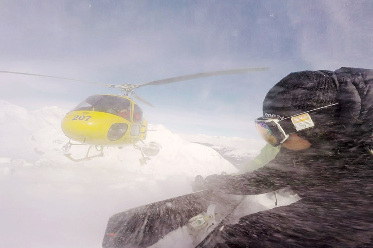 X Games Photographer Erin Hogue on a heli drop