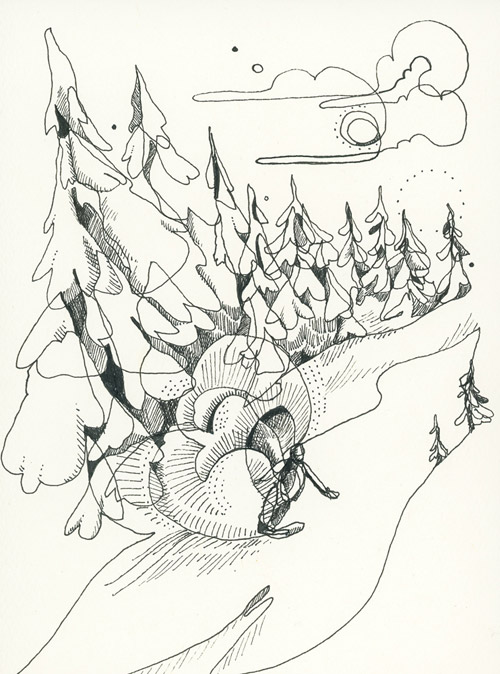 Gun Barrels single line drawing. Harmony zone, Whistler, BC. JESSA GILBERT PHOTO