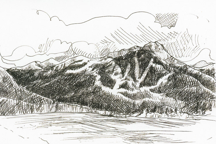 Whistler Mountain pencil drawing. JESSA GILBERT PHOTO