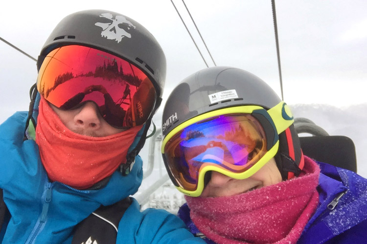 Mike and his mom take a selfie on the chairlift