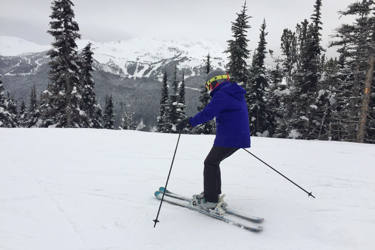 Mike's mom skiing on Whistler
