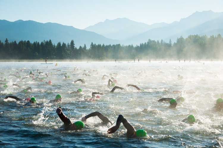 Ironman swim at Alta Lake in Whistler