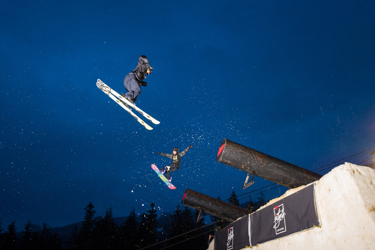 Dual Style at Skiers Plaza during World Ski Snowboard Festival in Whistler