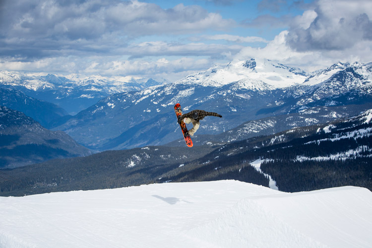 Snowboarder competing in the Showcase Showdown in Whistler