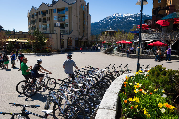 Beautiful spring day in Whistler village