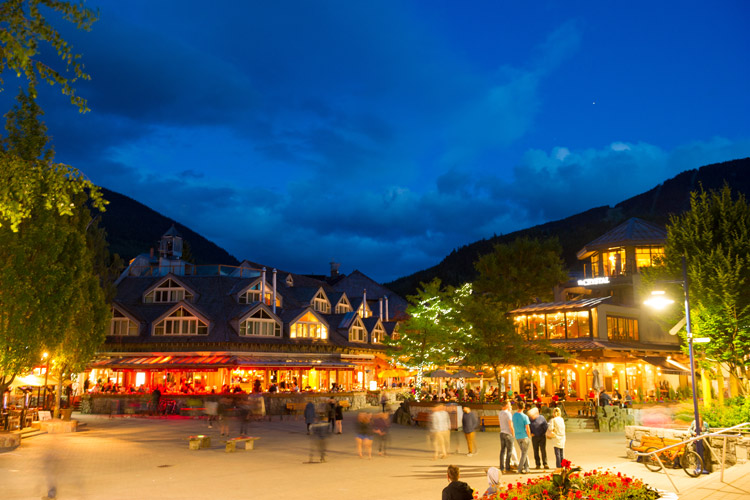 Whistler village on a clear spring night