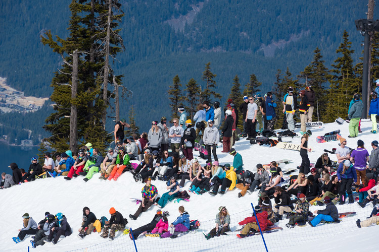 The Shredshow slopestyle in the Blackcomb Terrain Park at WSSF