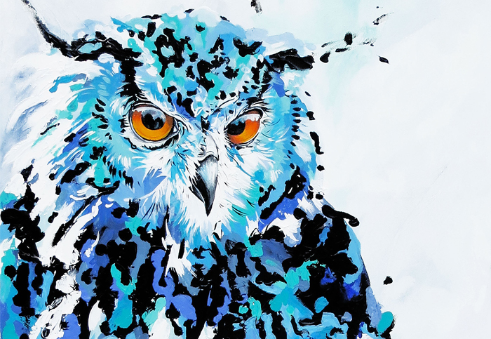 Owl painting by Andrea Mueller, Whistler artist