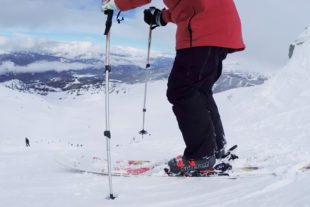Feet Banks wearing his new Surefoot ski boots
