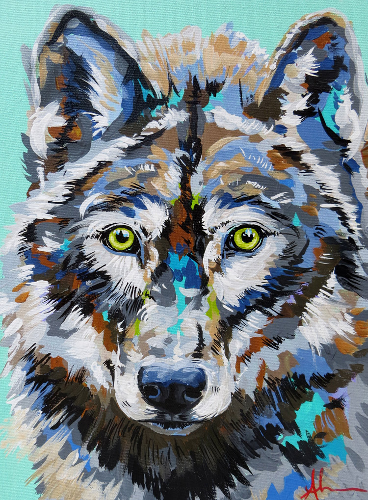 Wolf, Acrylic Painting by Andrea Mueller