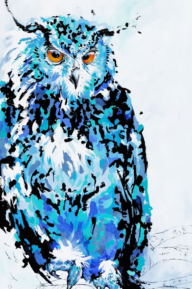 Owl, Acrylic Painting by Andrea Mueller