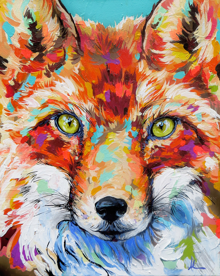 Fox Painting by Andrea Mueller