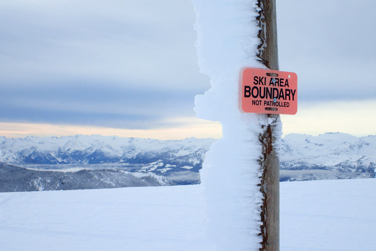 Whistler Ski Area Boundary Sign
