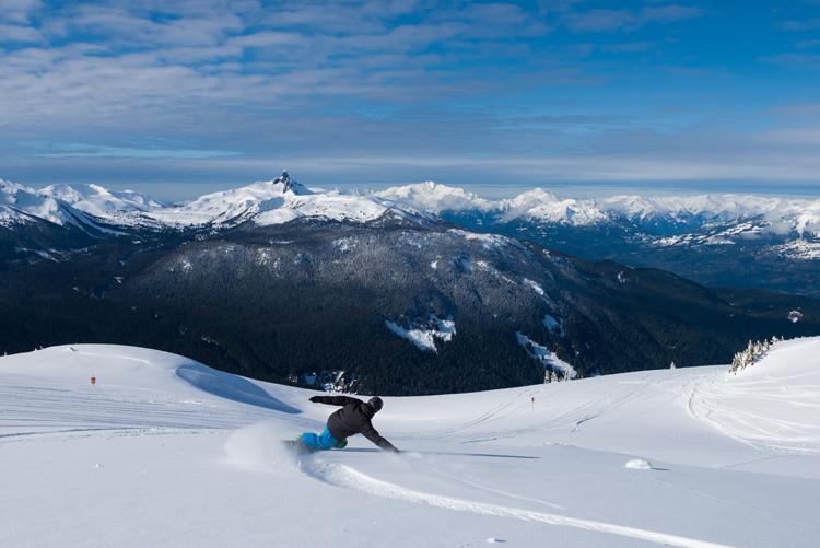 Spring snowboarding in the alpine