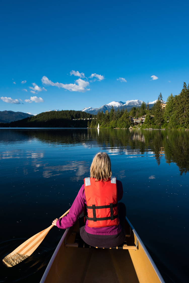 Canoeing on Alta Lake in Whistler
