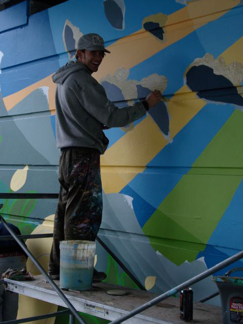 The multi talented Chili Thom works on a mural in Whistler.  PHOTO COURTESY CHILI THOM ESTATE