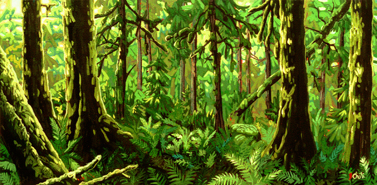 Chili Thom painting of an emerald forest