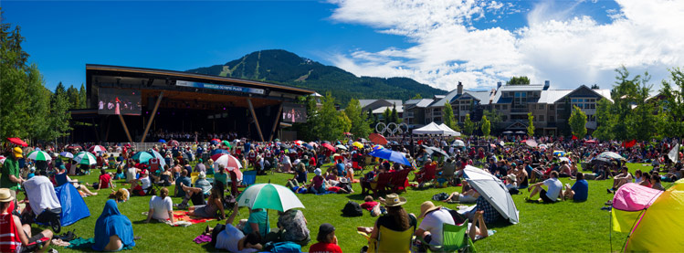 Crowds watch the Vancouver Symphony Orchestra in Whistler