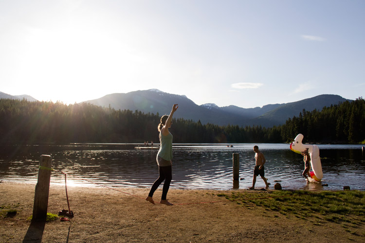Slacklining in Whistler at Lost Lake