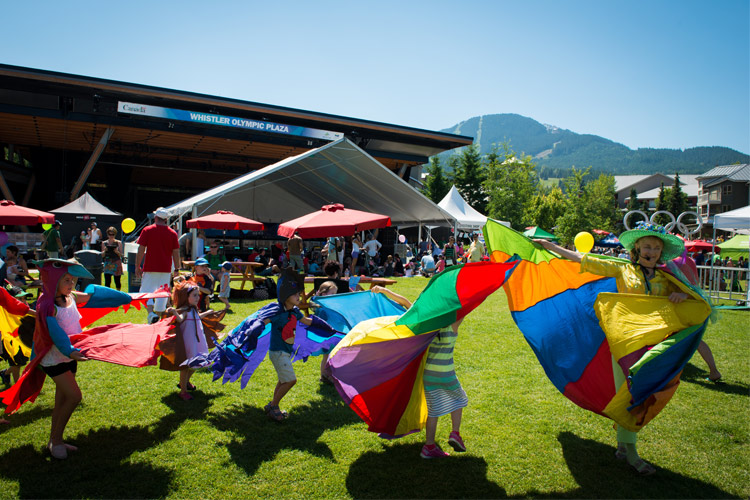 Performers and kids dance at the Whistler Childrens Festival