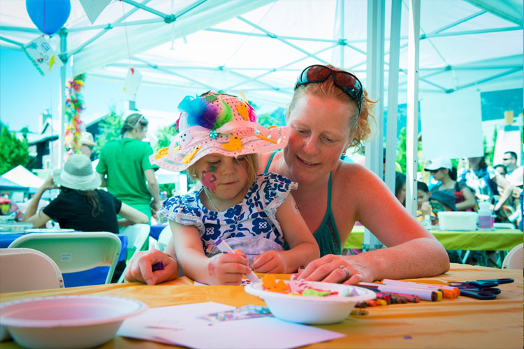 Mother and Daughter take a workshop at the Whistler Childrens Festival