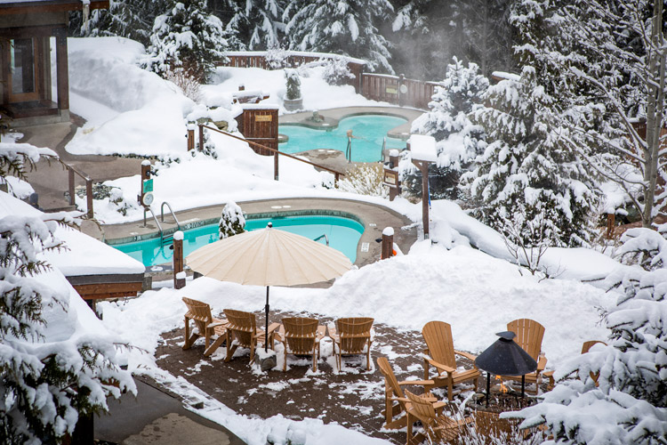 After a day of skiing, the Scandinave Spa is a fine place to be.