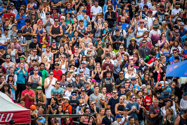 Spectators cheer at Crankworx Whistler