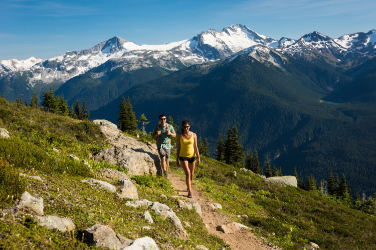 Taking in the stunning views along High Note Trail on Whistler Mountain