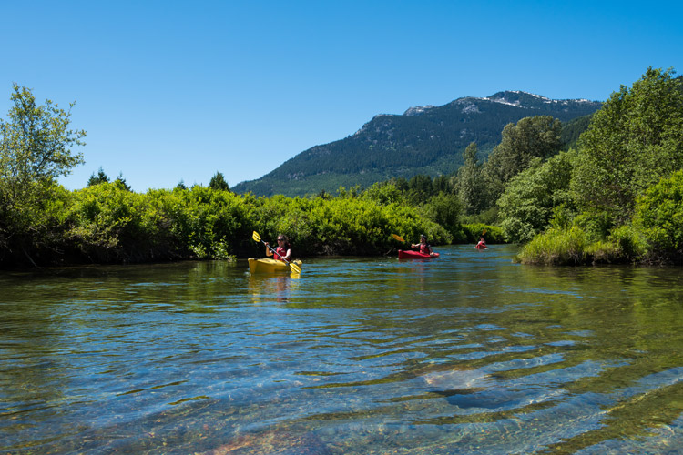 Kayaking down the River of Golden Dreams in Whistler