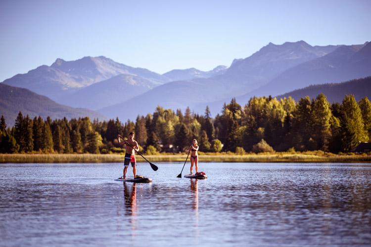 Paddleboarding on Alta Lake in Whistler