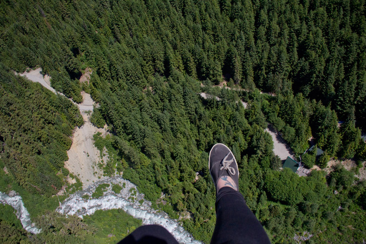 Ziplining over the Fitzsimmons Creek in Whistler