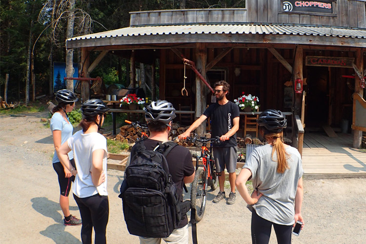Mountain Bike guide giving instructions