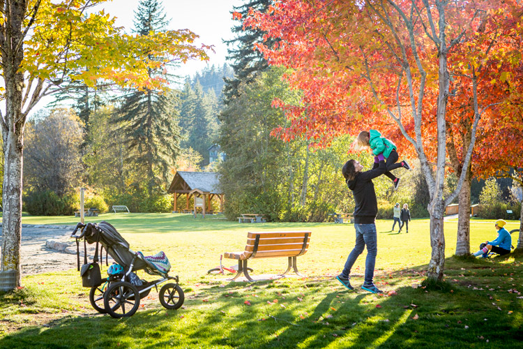 Family playing at Rainbow park in Whistler