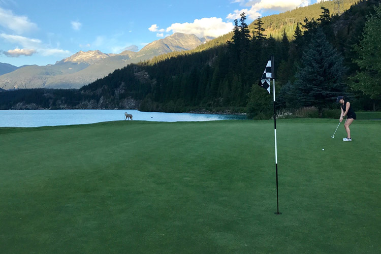 Playing golf on the shores of Green Lake in Whistler