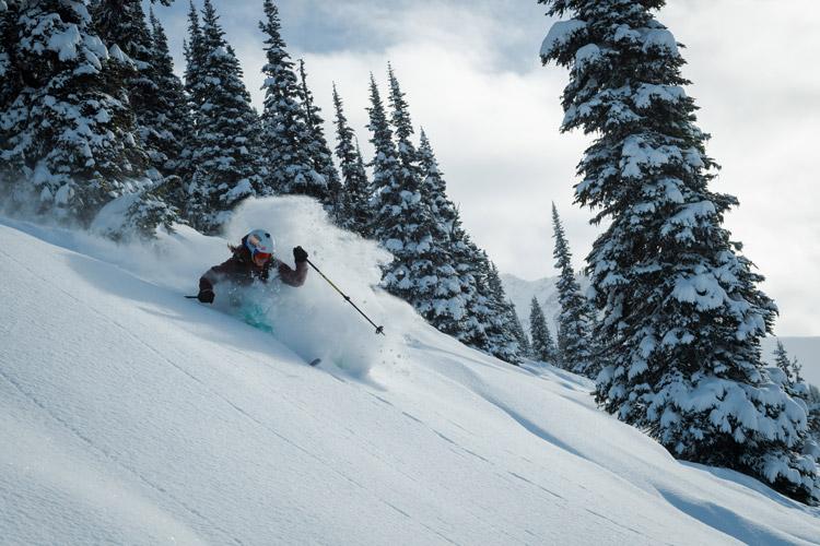 Deep powder skiing on Blackcomb