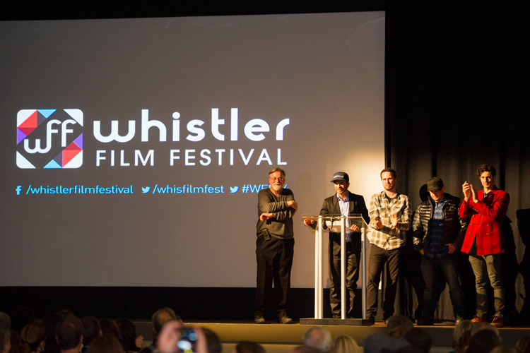 Mike Douglas and crew speaking at the closing gala of the WFF