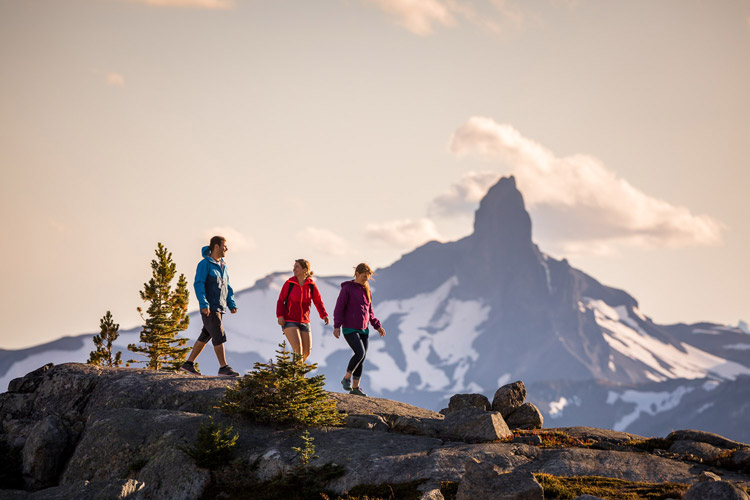 Black Tusk and Fall Hikers at Sunset