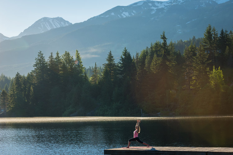 Surnise yoga on Alta Lake