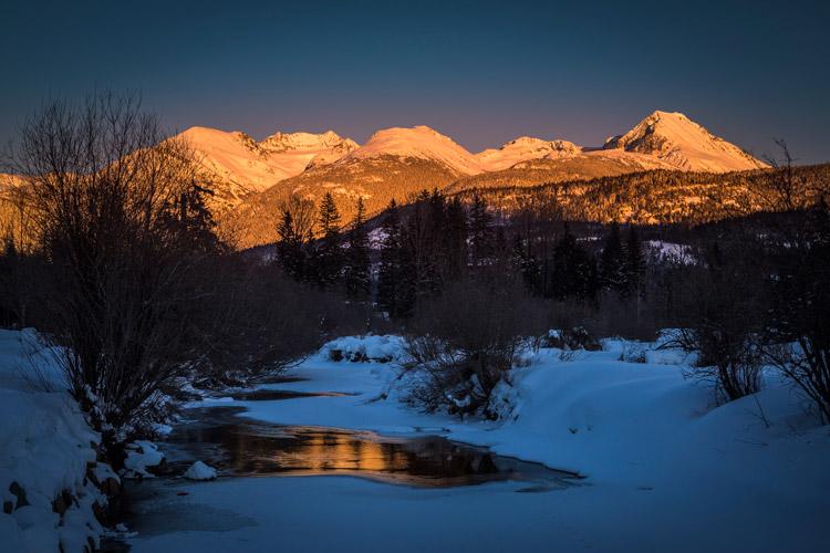 Winter sunset in Whistler valley