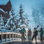 Skiiers in Whistler Creekside during a snow storm
