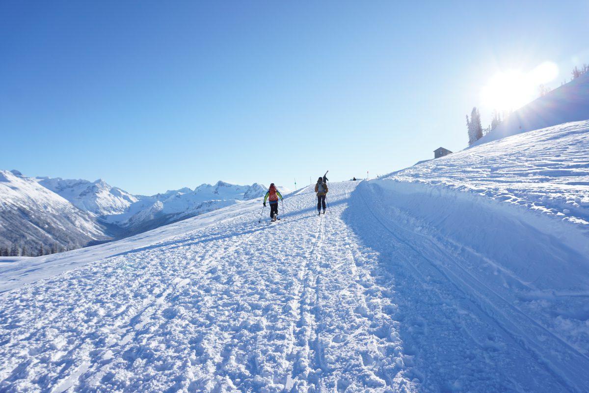Skiers Skinning Up